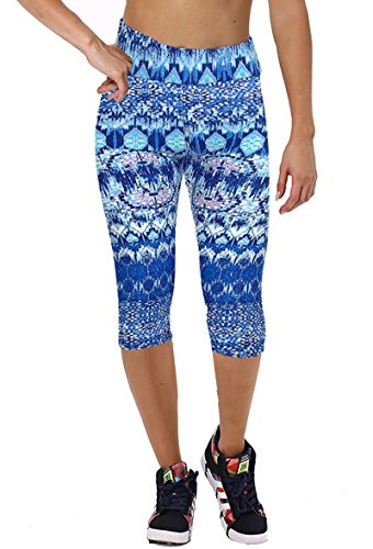 Womens Printed Active Workout Capri Leggings Outfit Stretch Tights(Blue Pattern#45,XL)