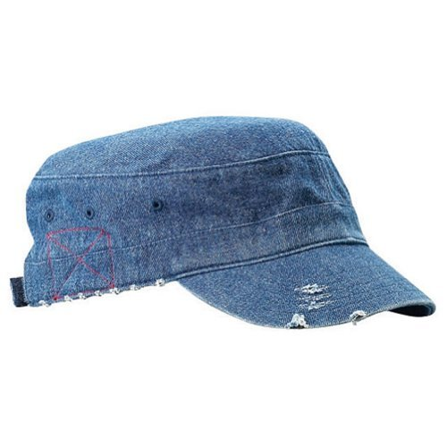 Enzyme Frayed Solid Army Caps-Denim W35S44D