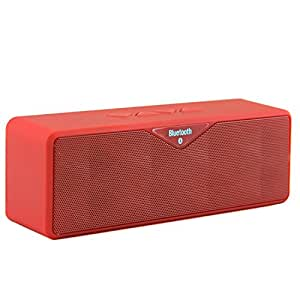 LB1 High Performance New Wireless Bluetooth Mini Speaker for ZTE Sonata 4G Dual-Speaker Music System with Built-in Microphone and Micro SD card slot (Red)