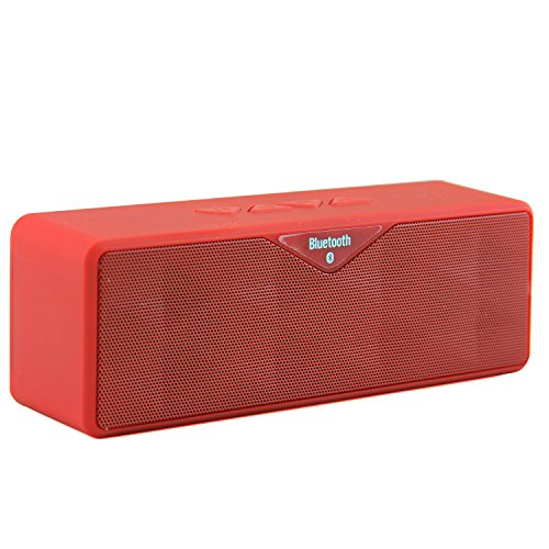 LB1 High Performance New Wireless Bluetooth Mini Speaker for CybertronPC Boss 17.3'' 2.6GHz 32GB DDR3 Intel Core i7-3720QM Quad-Core Blu-ray GeForce GTX 675M Gaming Laptop PC Black Dual-Speaker Music System with Built-in Microphone and Micro SD card slot (Red)
