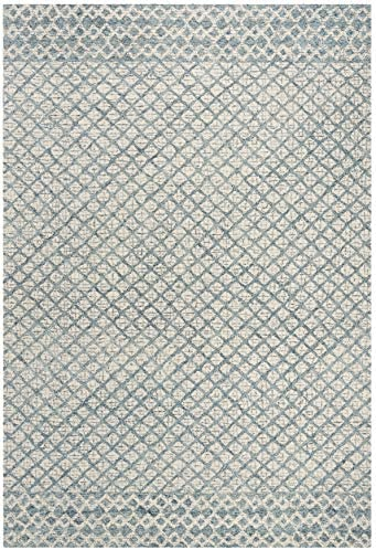 Safavieh Abstract Collection ABT203A Contemporary Handmade Blue and Ivory Premium Wool Area Rug 9 x 12
