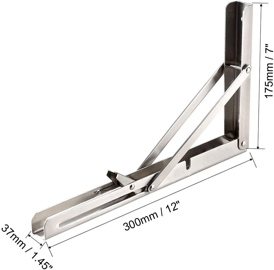 sourcing map Soporte plegable de 8 200mm para Soporte de pared de liberaci/ón largo de mesa estante