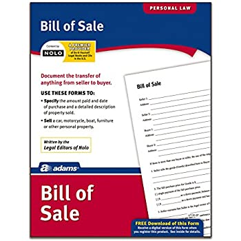 Amazon.Com : Adams Bill Of Sale, Forms And Instructions (Lf135