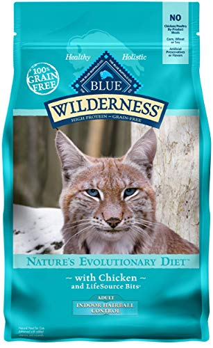 Blue Buffalo Wilderness High Protein Grain Free, Natural Adult Indoor Hairball Control Dry Cat Food, Chicken 5-lb