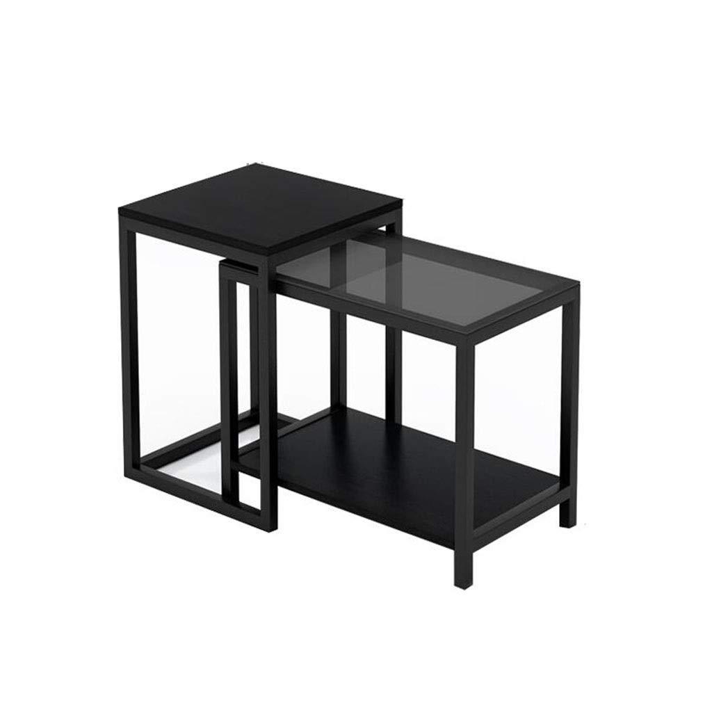 KSW_KKW Black Nesting Small Couchtisch 2er-Set Hochglanz-Beistelltische aus gehärtetem Glas for kleine Räume Möbelholztisch