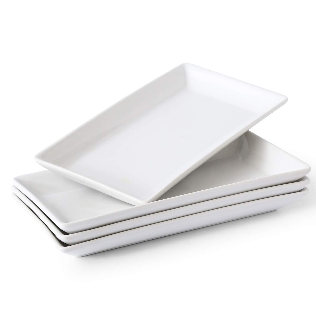 Porcelain Serving Platters Rectangular Trays for Party, Microwave And Dishwasher Safe Set of 4,12 inch