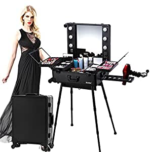 Kemier Professional Artist Studio Makeup Case,Cosmetic Train Table w/4 Rolling Wheels & Lights & Mirror,Pro Makeup Station,Cover Board and Easy Clean Extendable Trays,Adjustable Legs,Sturdy-Black