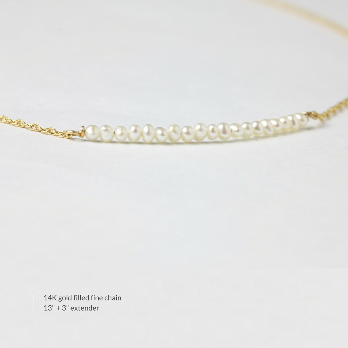BENIQUE Dainty Necklace Choker for Women - Freshwater Cultured Pearl, Fine Chain for Layering, AAA Cubic Zirconia Drop, 14K Gold Filled, Made in USA, 13''+3'' Adjustable Ext. (Mini Pearl Bar) by BENIQUE (Image #3)