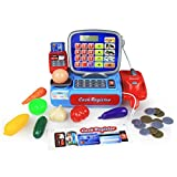 Kids Cash Register Pretend Play Supermarket Shop Till Toy Play Food Game with Working Calculator, Scanner, Chip n Pin Card Reader, Weighing Scales, Play Food