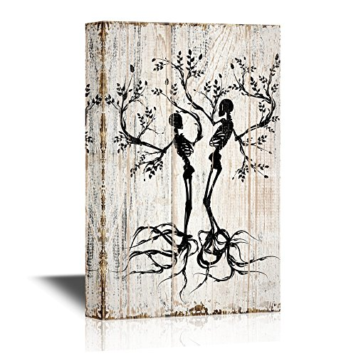 wall26 Abstract Tree Canvas Wall Art - Two Trees with Branches and Roots in The Shape of Human Skeleton - Gallery Wrap Modern Home Decor | Ready to Hang - 24x36 inches]()