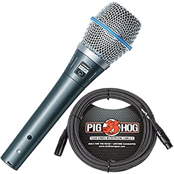 Shure BETA 87A Supercardioid Condenser Microphone & Pig Hog Black & White Woven Mic Cable, 20ft XLR - Bundle