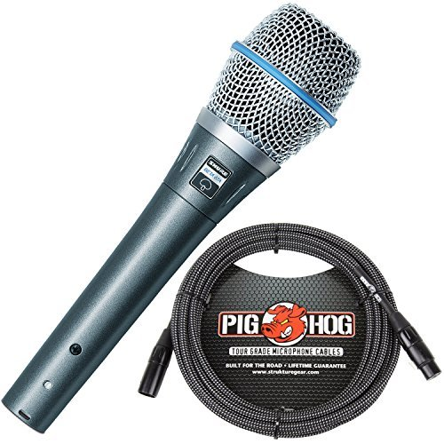 Shure BETA 87A Supercardioid Condenser Microphone & Pig Hog Black & White Woven Mic Cable, 20ft XLR - Bundle by Shure