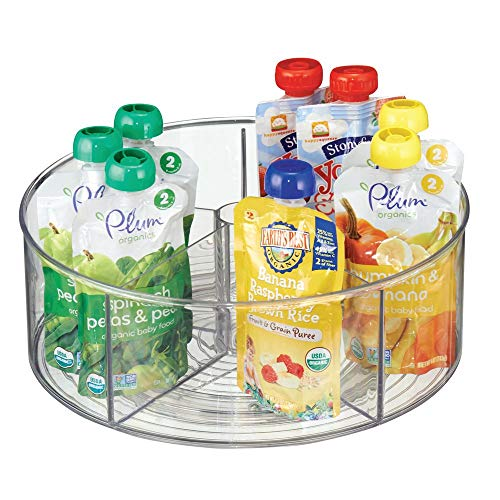 mDesign Divided Lazy Susan Turntable Storage Container for Kitchen Cabinets, Pantries, Refrigerator, Countertops - BPA Free & Food Safe – Spinning Organizer for Kids, Baby/Toddler, 5 Sections - Clear -