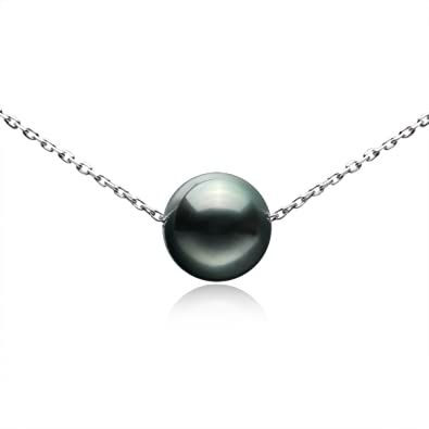 97386c3b46d Tahitian Cultured Single Black Pearl 9-10mm 925 Sterling Silver Necklace  Gifts for Women by VIKI LYNN