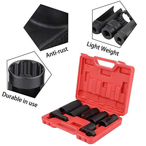 "Keenso 7 Pcs Oxygen Sensor Wrench Socket Removal Set Tool Kit Injector Removal Socket Set 3/8"" & 1/2"" Drive Sockets by Keenso (Image #3)"