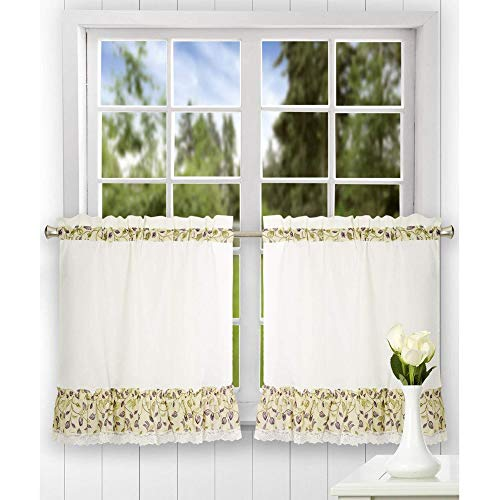 (Ellis Curtain Clarice 58-by-24 Inch Ruffled Tailored Tier Curtains, Violet )