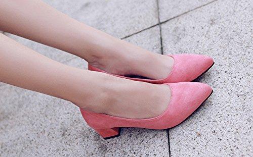 Rose Moyens Escarpins Pointues Bloc Femme Talons Aisun Confortable q0U6171