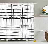 Modern Shower Curtains Modern Art Home Decor Shower Curtain by Ambesonne, Minimalist Image with Simplistic Spaces and Spare Asymmetric Grids, Fabric Bathroom Decor Set with Hooks, 75 Inches Long, Black White