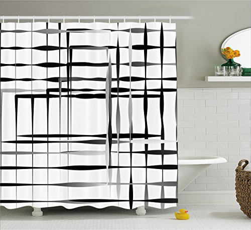 Ambesonne Modern Art Home Decor Shower Curtain, Minimalist Image with Simplistic Spaces and Spare Asymmetric Grids, Fabric Bathroom Decor Set with Hooks, 84 Inches Extra Long, Black White