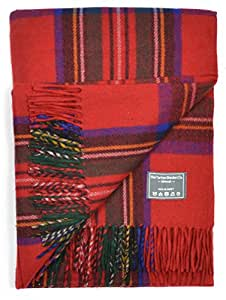 Classic Wool Blanket Throw Rug in Royal Stewart Tartan