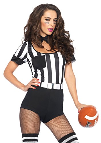 Leg Avenue Women's 3 Piece No Rules Referee Costume, Black/White, Large (Women Referee Costume)
