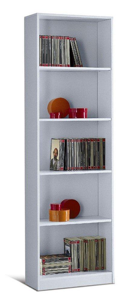 Valentini Eco Libreria 5 Vani, Legno, Bianco, 21x55x174 cm 96L01B