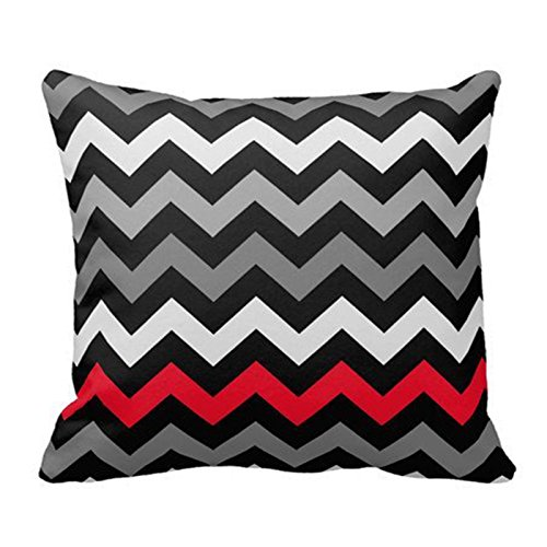 SIXSTARS Black & White Chevron with Red Stripe Throw Pillow Personalized 18x18 Inch Square Cotton Throw Pillow Case Decor Cushion Covers from SIXSTARS