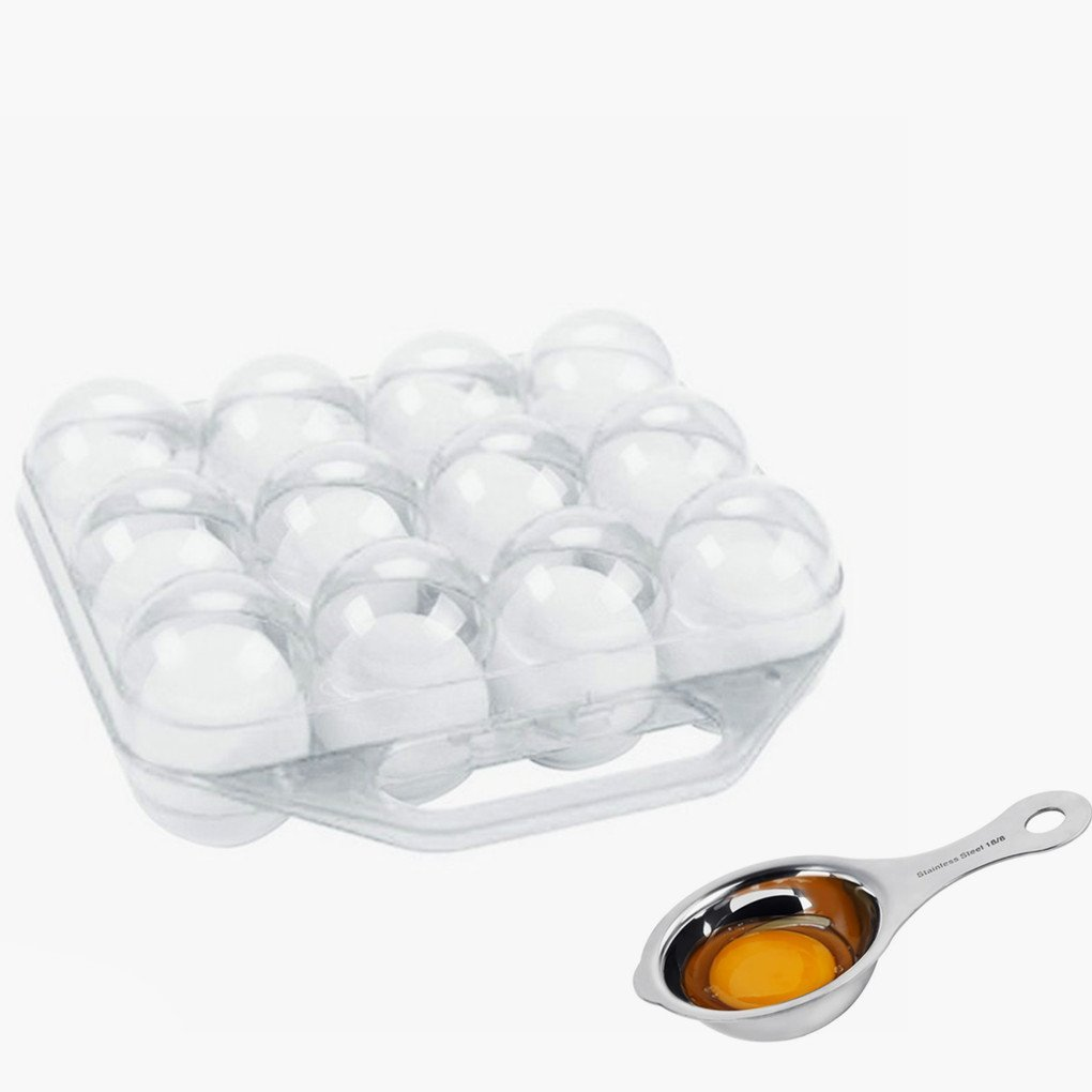 Azorcol Egg Tray With Egg Separator,Folding Portable Plastic 12 Eggs Container Holder Storage Box Case for Kitchen Outdoor (White)