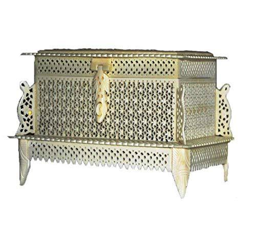 PARIJAT HANDICRAFT Antique Handmade Bone Carved Floral Motif Jewelry Box with Gift Box