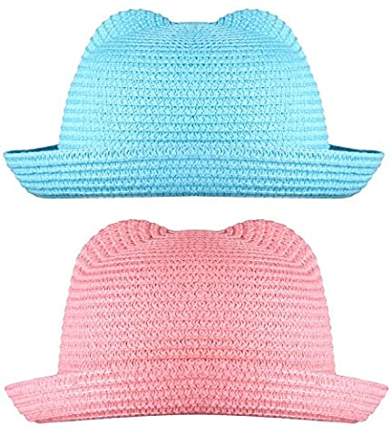 WDSKY Fedora Hat Straw Pink Fedora Hats Hats for Girls Light Blue and Pink 2 Pcs