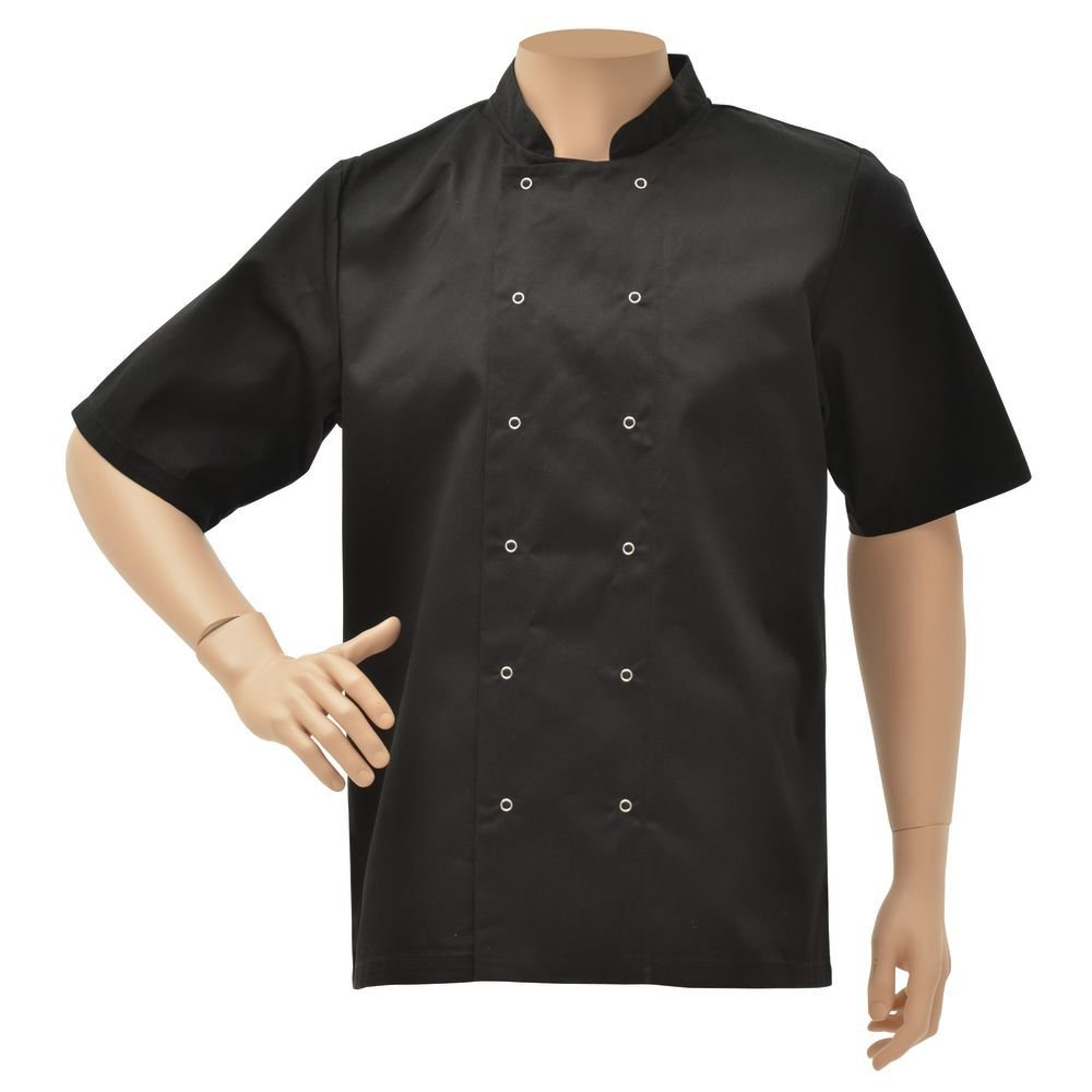 HUBERT Black Poly Cotton Short Sleeve Chef Coat - Extra Large