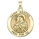 PicturesOnGold.com Saint Agatha Religious Medal - 2/3 Inch Size of Dime - Solid 14K Yellow Gold WITH ENGRAVING