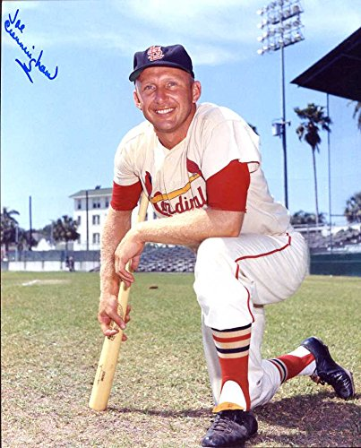 (Joe Cunningham Autographed/ Original Signed 8x10 Color Photo w/ the St. Louis Cardinals in the 1950s)