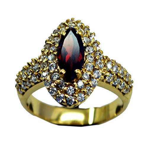 (Real Natural Garnet Gold Plated Ring For Women Birthstone Marquise Shape Cluster Size 5,6,7,8,9,10,11,12)