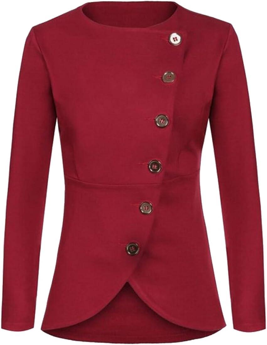 KLJR Womens Office Long Sleeve Solid Color Work Blazer Jacket Red US XS