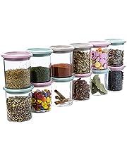 QILZO® Set van 12 plastic kruidenpotjes met deksel 250ml Plastic potjes met deksel Keukenpotten voor opbergers Opbergen Kruiden, Snoep, Noten, Koffie, Thee