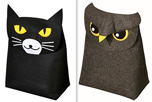 New Year Gifts Buy 1 Get 1 Free - Felt Toy Baskets Hamper - Owl Kids Baskets Free With Cat Basket - Grey/Black Foldable Hamper - 44x 55 x 26 Cms