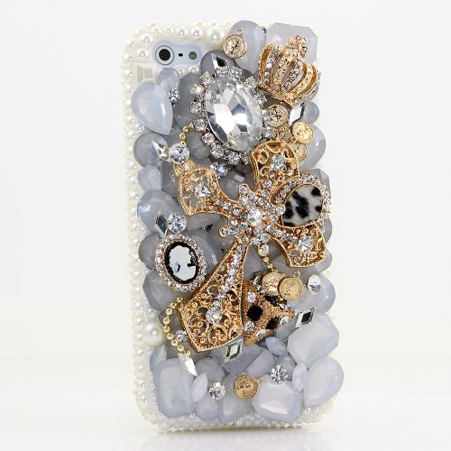 , iPhone 6 Case - LUXADDICTION [Premium Quality] 3D Handmade Crystallized Bling Case Swarovski Crystals Diamond Sparkle Golden Cross Crown White Pearls Cover for iPhone 6 / 6S (Swarovski Crystal Cross Cell Phone)