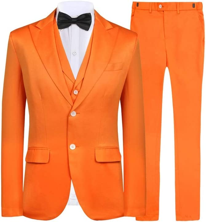 1960s Mens Suits | 70s Mens Disco Suits Hanayome Mens Slim Fit Suit Blazer Jacket Tux Vest & Trousers 3-Piece Suit Set $79.90 AT vintagedancer.com