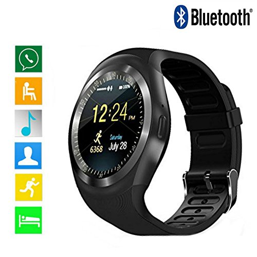 Bluetooth Smartwatch Fitness Trackerwith Heart Rate Monitoring Pedometer Activity Tracker Alarm Clock Stopwatch Messages Reminder Sports Smartwatch for Men Women Support Android IOS Y1
