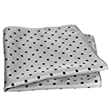 Grey Silk Polka Dot Pocket Square - 17'' Handkerchief - 12mm Silk Twill