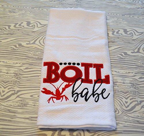 Crawfish appliqued Embroidered Kitchen Towel Boil (Appliqued Fish)