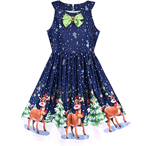 LM75 Girls Dress Christmas Eve Christmas Tree Snow Reindeer Party Size 14 -