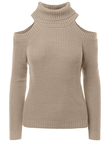 Price comparison product image Cold Shoulder Turtle Neck Long Sleeve Knit Sweater Khaki Small