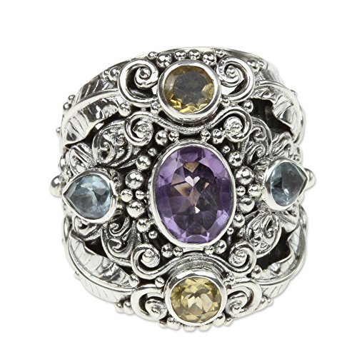 (NOVICA Multi-Gem Amethyst .925 Sterling Silver Cocktail Ring, Butterfly Queen' )