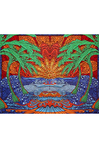 Sunshine Joy® 3D Epic Tropical Wave Tapestry Wall Hanging Trippy Table Cloth Magical Dorm Decor - Huge 60x90 Inches