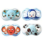 RazBaby Keep-It-Kleen Pacifiers - Pack of 4 (Elfy Elephant, Ethan Penguin, Finley Clown Fish and Percy Puppy)