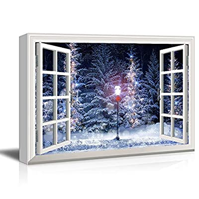 Made For You, Grand Craft, Window Frame Style Snow Covered Pine Trees and Street Lamp During Christmas Season
