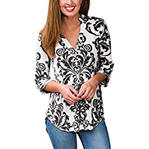 YOUHUA Women Deep V Neck 3 4 Sleeve Floral Print Casual Loose Long Shirt