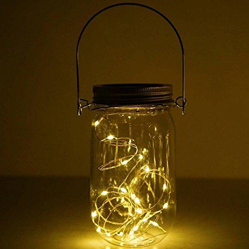 Iulove Solar Mason Jar Lid Insert LED Mason Jar Solar Light for Glass Mason Home Decor